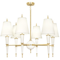 Robert Abbey W904X Jonathan Adler Versailles 6 Light 37 inch Lily Paint with Modern Brass Chandelier Ceiling Light in Fondine