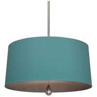 Robert Abbey WB330 Williamsburg Custis 3 Light 15 inch Polished Nickel Pendant Ceiling Light in Mayo Teal With Carter Gray