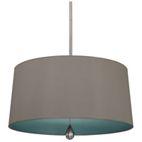 Williamsburg Custis 3 Light 26 inch Polished Nickel Pendant Ceiling Light in Carter Grey w/ Mayo Teal