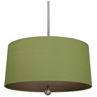 Robert Abbey WB332 Williamsburg Custis 3 Light 15 inch Polished Nickel Pendant Ceiling Light in Parrot Green With Revolutionary Storm