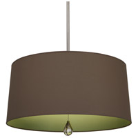 Robert Abbey WB333 Williamsburg Custis 3 Light 15 inch Polished Nickel Pendant Ceiling Light in Revolutionary Storm With Parrot Green