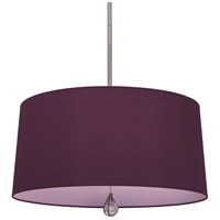 Robert Abbey WB334 Williamsburg Custis 3 Light 15 inch Polished Nickel Pendant Ceiling Light in Greenhow Grape With Ludwell Lilac