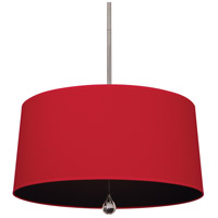 Williamsburg Custis 3 Light 26 inch Polished Nickel Pendant Ceiling Light in Richmond Red w/ Blacksmith Black