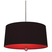 Williamsburg Custis 3 Light 26 inch Polished Nickel Pendant Ceiling Light in Blacksmith Black w/ Richmond Red