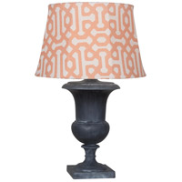 Robert Abbey WZ46R Helena Al Fresco 30 inch 100 watt Weathered Zinc Painted Table Lamp Portable Light in Orange Jacquard Sunbrella