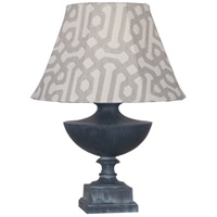 Robert Abbey WZ47G Freya Al Fresco 23 inch 100 watt Weathered Zinc Painted Accent Lamp Portable Light in Gray Jacquard Sunbrella