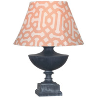 Robert Abbey WZ47R Freya Al Fresco 23 inch 100 watt Weathered Zinc Painted Accent Lamp Portable Light in Orange Jacquard Sunbrella