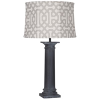 Robert Abbey WZ49G Phoebe Al Fresco 35 inch 100 watt Weathered Zinc Painted Table Lamp Portable Light in Gray Jacquard Sunbrella