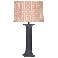 Robert Abbey WZ49R Phoebe Al Fresco 35 inch 100 watt Weathered Zinc Painted Table Lamp Portable Light in Orange Jacquard Sunbrella