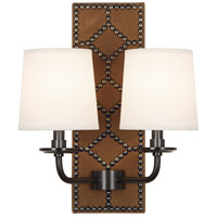 Robert Abbey Z1030 Williamsburg Lightfoot 2 Light 14 inch English Ochre Leather with Deep Patina Bronze Wall Sconce Wall Light