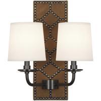 Robert Abbey Z1030 Williamsburg Lightfoot 2 Light 14 inch English Ochre Leather with Deep Patina Bronze Wall Sconce Wall Light