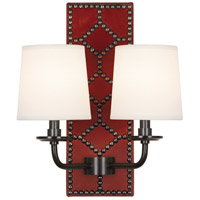 Robert Abbey Z1031 Williamsburg Lightfoot 2 Light 14 inch Dragons Blood Leather with Deep Patina Bronze Wall Sconce Wall Light