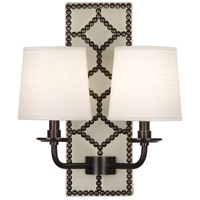 Robert Abbey Z1032 Williamsburg Lightfoot 2 Light 14 inch Bruton White Leather with Deep Patina Bronze Wall Sconce Wall Light