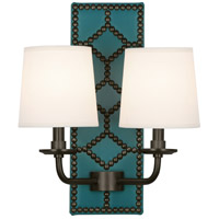 Robert Abbey Z1033 Williamsburg Lightfoot 2 Light 14 inch Mayo Teal Leather with Deep Patina Bronze Wall Sconce Wall Light