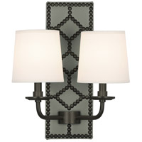 Robert Abbey Z1034 Williamsburg Lightfoot 2 Light 14 inch Carter Grey Leather with Deep Patina Bronze Wall Sconce Wall Light