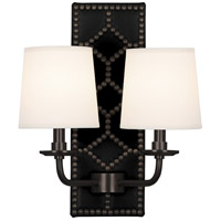 Robert Abbey Z1035 Williamsburg Lightfoot 2 Light 14 inch Blacksmith Black Leather with Deep Patina Bronze Wall Sconce Wall Light