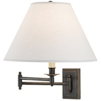 Kinetic Linen Shade 24 inch 150 watt Deep Patina Bronze Swing Lamp Wall Light in Oyster Linen