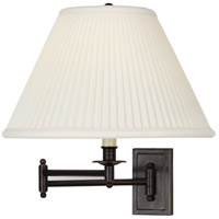 Kinetic Bronze 23 inch 150 watt Deep Patina Bronze Swing Lamp Wall Light in Natural Side Pleat Fabric