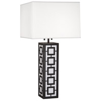 Jonathan Adler Parker 34 inch 100 watt Deep Patina Bronze Table Lamp Portable Light in Ascot White Fabric