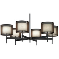Robert Abbey Z2188 Saturnia 6 Light 15 inch Deep Patina Bronze Chandelier Ceiling Light in Bronze Transparent With Ascot White