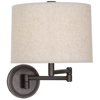 Robert Abbey Z2824 Sofia 12 inch 100 watt Deep Patina Bronze Wall Swinger Wall Light in Heather Linen