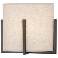 Colonnade 1 Light 10 inch Deep Patina Bronze Wall Sconce Wall Light in Open Weave Heather Linen
