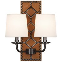 Robert Abbey Z350 Williamsburg Lightfoot 2 Light 14 inch English Ochre Leather with Deep Patina Bronze Wall Sconce Wall Light