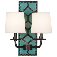 Robert Abbey Z353 Williamsburg Lightfoot 2 Light 14 inch Mayo Teal Leather and Deep Patina Bronze Wall Sconce Wall Light