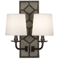 Robert Abbey Z354 Williamsburg Lightfoot 2 Light 14 inch Carter Gray Leather and Deep Patina Bronze Wall Sconce Wall Light