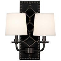 Robert Abbey Z355 Williamsburg Lightfoot 2 Light 14 inch Blacksmith Black Leather and Deep Patina Bronze Wall Sconce Wall Light