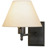 Robert Abbey Z428X Meilleur 15 inch 100 watt Deep Patina Bronze Wall Swinger Wall Light in Light Beige Linen