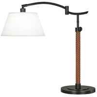 Robert Abbey Z581 Kyoto 20 inch 60 watt Deep Patina Bronze with Woven Camel Leather Table Lamp Portable Light