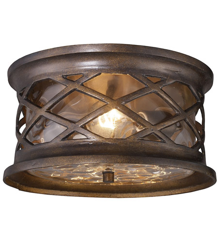 Spark & Spruce 24509-HBC Cliffside 2 Light 12 inch Hazelnut Bronze Outdoor Flush Mount photo thumbnail