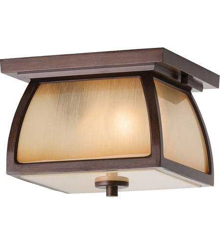 Spark & Spruce 24278-SBSI sumter 2 Light 9 inch Sorrel Brown Outdoor Flush Mount in Striated Ivory Glass, Standard photo thumbnail
