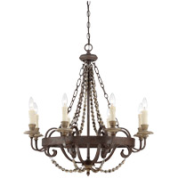 Spark & Spruce 25127-FSI Menard 8 Light 29 inch Fossil Stone Chandelier Ceiling Light