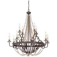 Spark & Spruce 25128-FSI Menard 12 Light 38 inch Fossil Stone Chandelier Ceiling Light 10ft of chain 12ft wire