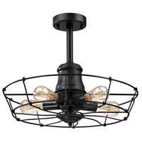 Spark & Spruce 20420-WI Lincoln 5 Light 20 inch Wrought Iron Black Semi Flush Mount Ceiling Light