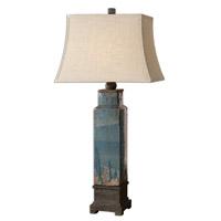 Spark & Spruce 20091-DB Gordon 38 inch 150 watt Distressed Blue Glaze Table Lamp Portable Light