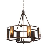 Spark & Spruce 24933-CBI Wylan 6 Light 31 inch Chestnut Bronze and Gold Chandelier Ceiling Light