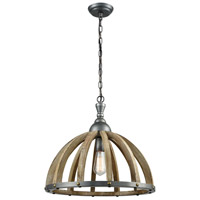 Spark & Spruce 23409-WTL Tulare LED 20 inch Wood Tone with Pewter Pendant Ceiling Light