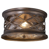 Spark & Spruce 24509-HBC Cliffside 2 Light 12 inch Hazelnut Bronze Outdoor Flush Mount