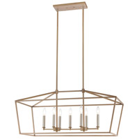 Spark & Spruce 24663-LWI Lawrence 7 Light 36 inch Light Wood with Satin Nickel Island Light Ceiling Light