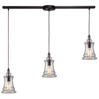 Spark & Spruce 24670-OBS LaPorte 3 Light 5 inch Oiled Bronze Mini Pendant Ceiling Light in Linear with Recessed Adapter Linear