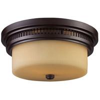Spark & Spruce 24757-OBO Sabrina 2 Light 13 inch Oiled Bronze Flush Mount Ceiling Light in Incandescent Amber Glass
