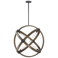 Spark & Spruce 25113-WWI Ralls 6 Light 28 inch Whiskey Wood Pendant Ceiling Light