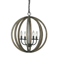 Spark & Spruce 20307-WO Ramona 4 Light 21 inch Weather Oak Wood and Antique Forged Iron Chandelier Large Pendant Ceiling Light