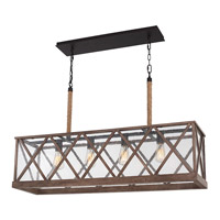 Spark & Spruce 23814-DW Stonewall 4 Light 9 inch Dark Weathered Oak and Oil Rubbed Bronze Pendant Chandelier Ceiling Light