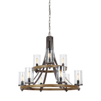 Spark & Spruce 20237-DWCG Lanesnoro 9 Light 33 inch Distressed Weathered Oak and Slated Grey Metal Chandelier Ceiling Light