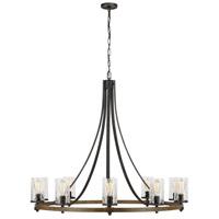 Spark & Spruce 20494-DWCW Lanesnoro 10 Light 48 inch Distressed Weathered Oak / Slate Grey Metal Chandelier Ceiling Light