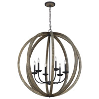 Spark & Spruce 23888-WO Ramona 6 Light 38 inch Weathered Oak Wood and Antique Forged Iron Chandelier Ceiling Light